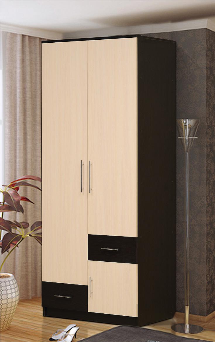 Распашные шкафы : шкаф 2-х дверный для платья и белья с ящик.