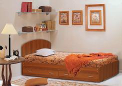 Кровать двуспальная с низкой ножной спинкой и ящиками 1600