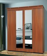 Шкаф-купе 4-х дверный с релингами и 2-мя зеркалами