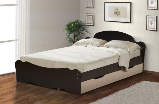 Кровать универсальная с низкой ножной спинкой и ящиками 1400 - фото №1