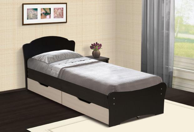 Кровать универсальная с низкой ножной спинкой 800 и ящиками - фото №1