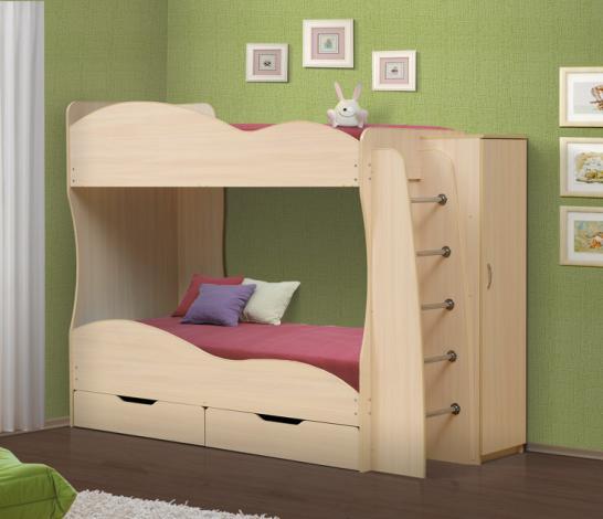 Кровать детская 2-х ярусная «Юность-2» со шкафом - фото №1