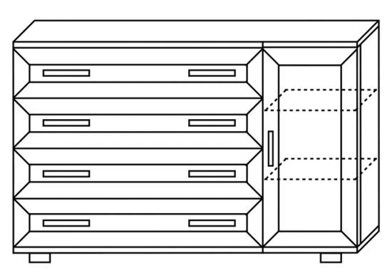 Комод с 4 ящиками и дверцей № 117 - фото №4