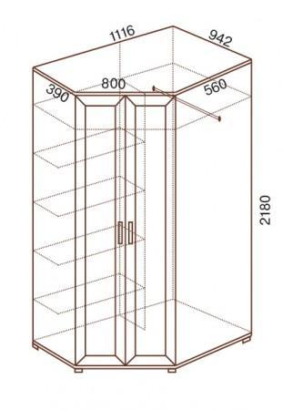 Шкаф угловой 2-дверный универсальный № 145 - фото №2