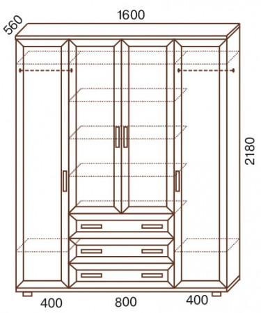 Шкаф 4-х дверный с зеркалами № 148 - фото №2