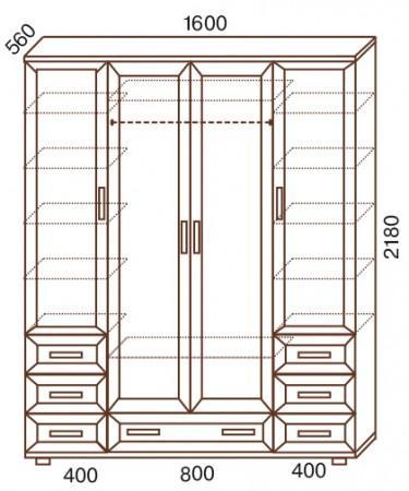 Шкаф 4-х дверный с зеркалами № 157 - фото №3