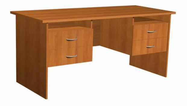 Стол письменный двухтумбовый с четырьмя ящиками 16.10 - фото №1