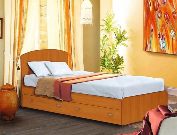 Кровать односпальная с низкой ножной спинкой и ящиками 800 - фото №1