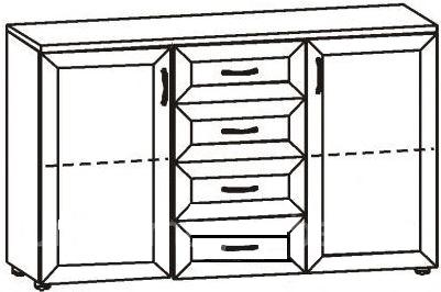 Комод с 4 ящиками и 2 дверцами 2.20 - фото №2