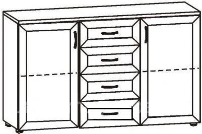 Комод с 4 ящиками и 2 дверцами глубокий 2.21 - фото №2