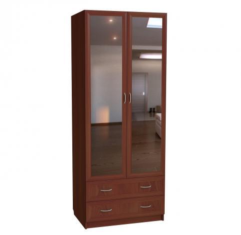 Шкаф для белья 2-х дверный с 2-мя ящиками с зеркалами С 203/1 М - фото №1