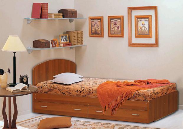 Кровать полутораспальная с низкой ножной спинкой и ящиками 1200 - фото №1