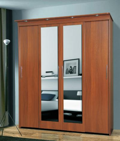 Шкаф-купе 4-х створчатый с релингами / с 2-мя зеркалами - фото №1