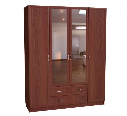 Шкаф для платья и белья 4-х дверный с 2 ящиками и 2-мя зеркалами С 299/1 М - фото №1