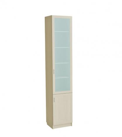 Шкаф для книг узкий со стеклянной дверью С 410 М - фото №2