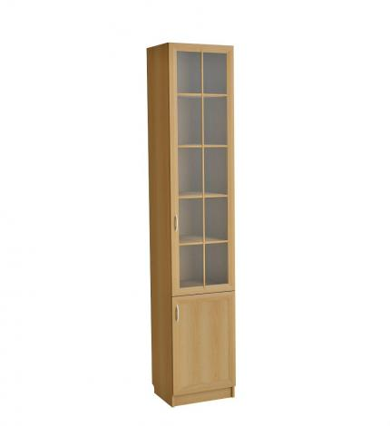 Шкаф для книг узкий со стеклянной дверью С 410 М - фото №3