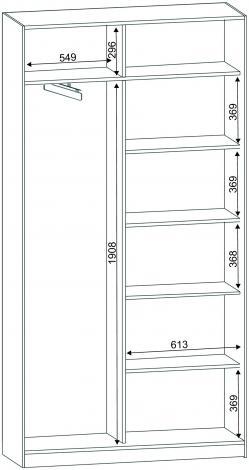 Шкаф - купе двухдверный с зеркальной дверью С 42.12.01 - фото №2