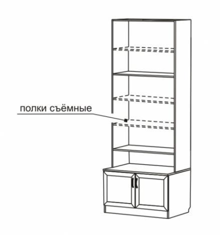 Шкаф для книг со стеклянными дверями С 462 М - фото №2