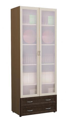 Книжный шкаф с матовыми стеклами и ящиками  6.15 - фото №2