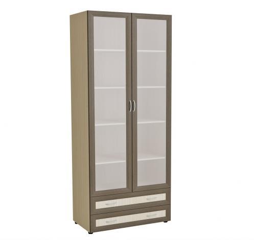 Книжный шкаф с матовыми стеклами и ящиками  6.15 - фото №1
