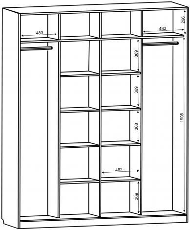 Шкаф - купе 4-х дверный глубокий с зеркалами С 64.20.04 - фото №2