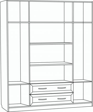 Шкаф для платья и белья 4-х дверный с 2 ящиками и 2-мя зеркалами С 299/1 М - фото №2