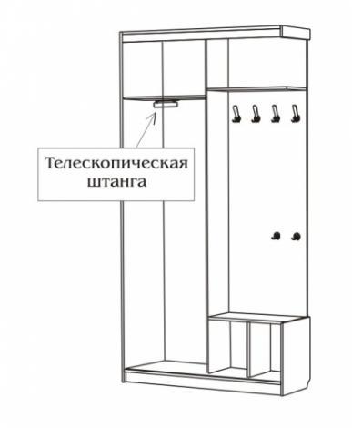 Шкаф - купе в прихожую с зеркалом С 503/ 1 - фото №2