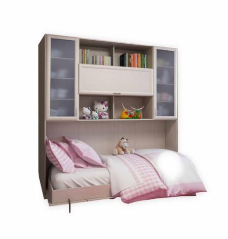 Подъемная двуспальная кровать С 521 М со стеклом - фото №3