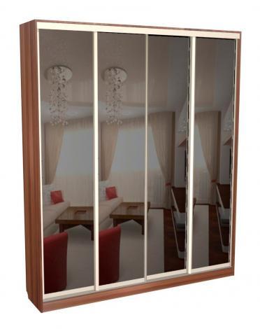 Шкаф - купе 4-х дверный глубокий с зеркалами С 64.20.04 - фото №1