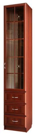 Шкаф для книг узкий со стеклом и ящиками С 414 М - фото №1