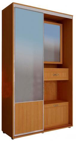 Шкаф-купе в прихожую с зеркальной дверью ШК-01 - фото №2