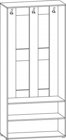 Шкаф - вешалка открытый с дверцами В-62л - фото №2