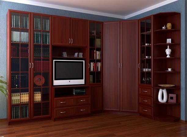 Угловая мебельная стенка в гостиную «Волхова 3» - фото №1